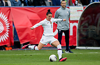 CARSON, CA - FEBRUARY 9: Ali Krieger #11 of the United States passes off the ball during a game between Canada and USWNT at Dignity Health Sports Park on February 9, 2020 in Carson, California.