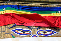 Nepal, Kathmandu, Swayambhunath.  The All-Seeing Eyes of the Buddha Gaze out from above the Stupa of Swayambhunath.  The main stupa survived the earthquake of April 2015, but the remainder of the complex was severely damaged.