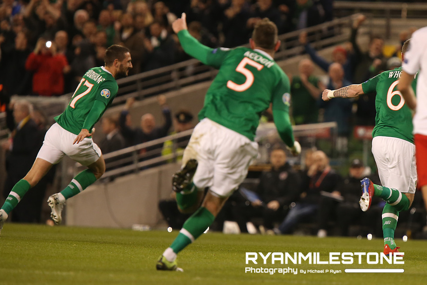 European Championship 2020<br /> Qualifying Round <br /> Rep of Ireland v Georgia<br /> Tuesday 26th March 2019,<br /> Aviva Stadium, Dublin.<br /> Conor Hourihane of Republic of Ireland celebrates after scoring the first goal of the game.<br /> Mandatory Credit: Michael P Ryan