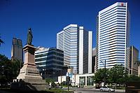 Montreal (Qc) Canada - June 23 2009 -  Victoria Square statue of Queen Victoria<br /> facing banque Nationale headquarter