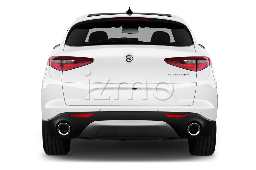 Straight rear view of 2020 Alfaromeo Stelvio Super 5 Door SUV Rear View  stock images