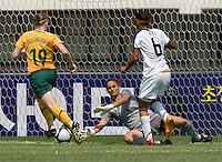 USWNT forward  (6) Natasha Kai slides the ball past Australian goalkeeper (1) Melissa Barbieri during the Peace Queen Cup  in Suwon, South Korea.  The U.S. defeated Australia, 2-1, at the Suwon Sports Complex.