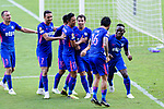 Kitchee Forward Alex Akande (R) celebrating a score with teammates during the Hong Kong FA Cup final between Kitchee and Wofoo Tai Po at the Hong Kong Stadium on May 26, 2018 in Hong Kong, Hong Kong. Photo by Marcio Rodrigo Machado / Power Sport Images