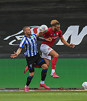 Sheffield Wednesday's Connor Wickham (left) battles with Bristol City's Nathan Baker (right) <br /> <br /> Photographer David Horton/CameraSport<br /> <br /> The EFL Sky Bet Championship - Bristol City v Sheffield Wednesday - Sunday 28th June 2020 - Ashton Gate Stadium - Bristol <br /> <br /> World Copyright © 2020 CameraSport. All rights reserved. 43 Linden Ave. Countesthorpe. Leicester. England. LE8 5PG - Tel: +44 (0) 116 277 4147 - admin@camerasport.com - www.camerasport.com