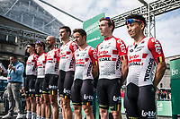 Team Lotto Soudal with later race winner Caleb Ewan (AUS/Lotto Soudal) at the pre race team presentation.<br /> <br /> 99th Brussels Cycling Classic 2019<br /> One Day Race: Brussels > Brussels 189.4km<br /> <br /> ©kramon