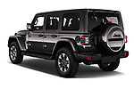 Car pictures of rear three quarter view of a 2019 Jeep Wrangler Unlimited Sahara 5 Door SUV angular rear