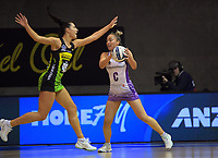 Karin Burger marks Mila Reuelu-Buchanan during the ANZ Premiership netball match between Central Pulse and Northern Stars at Auckland Netball Centre in Auckland, New Zealand on Saturday, 25 July 2020. Photo: Dave Lintott / lintottphoto.co.nz