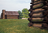 AJ2755, Valley Forge Park, log hut, encampment, Valley Forge, Pennsylvania, Soldier Huts in Valley Forge National Historical Park in Valley Forge in the state of Pennsylvania.