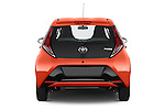 Straight rear view of a 2015 Toyota AYGO X-CITE 2WD MT 5 Door Micro Car 2WD Rear View  stock images