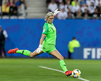 GRENOBLE, FRANCE - JUNE 15: Erin Nayler #1 of the New Zealand National Team goal kick during a game between New Zealand and Canada at Stade des Alpes on June 15, 2019 in Grenoble, France.