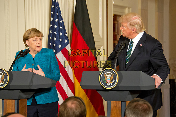 United States President Donald J. Trump and Chancellor Angela Merkel of Germany conduct a joint press conference in the East Room of the White House in Washington, DC on Friday, March 17, 2017.<br /> CAP/MPI/CNP/RS<br /> ©RS/CNP/MPI/Capital Pictures