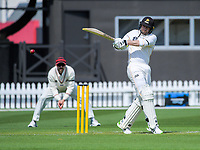 Devon Conway bats during day two of the Plunket Shield match between the Wellington Firebirds and Canterbury at Basin Reserve in Wellington, New Zealand on Tuesday, 20 October 2020. Photo: Dave Lintott / lintottphoto.co.nz
