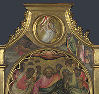Full title: The Descent into Limbo: Roundel above Centre Panel<br /> Artist: Giovanni dal Ponte<br /> Date made: about 1420-4?<br /> Source: http://www.nationalgalleryimages.co.uk/<br /> Contact: picture.library@nationalgallery.co.uk<br /> <br /> Copyright © The National Gallery, London