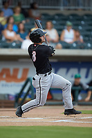 Ian Dawkins (8) of the Kannapolis Intimidators follows through on his swing against the Augusta GreenJackets at SRG Park on July 6, 2019 in North Augusta, South Carolina. The Intimidators defeated the GreenJackets 9-5. (Brian Westerholt/Four Seam Images)