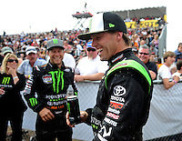 Mar. 20, 2011; Chandler, AZ, USA;  LOORRS pro four driver Rick Huseman (right) during round two at Firebird International Raceway. Mandatory Credit: Mark J. Rebilas-