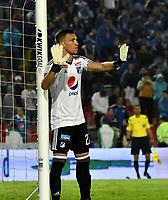 BOGOTA - COLOMBIA - 09 – 05 - 2017: Nikolas Vikonis, portero de Millonarios, en acción, durante partido de la fecha 17 entre Millonarios y Cortulua,  por la Liga Aguila I-2017, jugado en el estadio Nemesio Camacho El Campin de la ciudad de Bogota. / Nikolas Vikonis, goalkeeper of Millonarios in action during a match of the date 17th between Millonarios and Cortulua,  for the Liga Aguila I-2017 played at the Nemesio Camacho El Campin Stadium in Bogota city, Photo: VizzorImage / Luis Ramirez / Staff.
