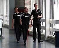 Wednesday 28 August 2013<br /> Pictured L-R: Chris Barney, Ben Donovan and Danny McGowan at Cardiff Airport.<br /> Re: Swansea City FC players and staff en route for their UEFA Europa League, play off round, 2nd leg, against Petrolul Ploiesti in Romania.