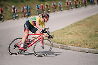 yellow jersey / GC leader Stefan Küng (SUI/BMC) descending<br /> <br /> Stage 5: Gstaad > Leukerbad (155km)<br /> 82nd Tour de Suisse 2018 (2.UWT)