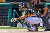 Juan Graterol (34) of the Salt Lake Bees during the game against the El Paso Chihuahuas in Pacific Coast League action at Smith's Ballpark on April 24, 2016 in Salt Lake City, Utah. This was Game 1 of a double-header.  El Paso defeated Salt Lake 7-0. (Stephen Smith/Four Seam Images)