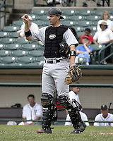 June 22, 2004:  Catcher Chris Stewart of the Charlotte Knights, International League (AAA) affiliate of the Chicago White Sox, during a game at Frontier Field in Rochester, NY.  Photo by:  Mike Janes/Four Seam Images