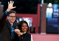 Artistic director of the festival, Antonio Monda  with his wife Jacqueline Greaves Monda on the red carpet of the16th edition of the Rome Film Fest in Rome, on October 19, 2021.<br /> UPDATE IMAGES PRESS/Isabella Bonotto