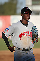 Reggie Pruitt (13) of the Vancouver Canadians during a game against the Salem-Keizer Volcanoes at Volcanoes Stadium on July 24, 2017 in Keizer, Oregon. Salem-Keizer defeated Vancouver, 4-3. (Larry Goren/Four Seam Images)