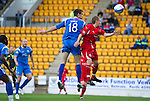 St Johnstone v Morton..24.08.10  CIS Cup Round 2.Scott Dobie gets above Nathan Shepherd to head the ball in to make it 1-0.Picture by Graeme Hart..Copyright Perthshire Picture Agency.Tel: 01738 623350  Mobile: 07990 594431