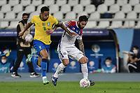 2nd July 2021; Nilton Santos Stadium, Rio de Janeiro, Brazil; Copa America, Brazil versus Chile; Danilo of Brazil held off by Eugenio Mena of Chile