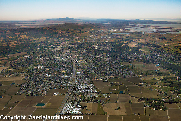 aerial overview of Napa, California toward Mount Diablo, San Francisco Bay in the background right