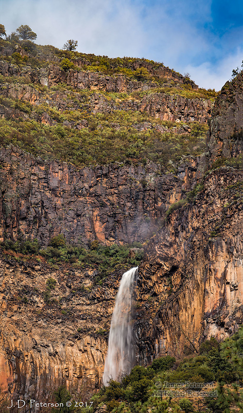 Ephemeral Waterfall, Oak Creek Canyon - Panoramic Image ©2017 James D Peterson.  High on the wall of Sedona's signature canyon, this waterfall appears only after a heavy rain or when snow in higher elevations is melting.  This is a vertical panorama made by stitching 5 images together.