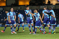 Scott Kashket of Wycombe Wanderers (3rd right) celebrates scoring his team's second goal to make it 2-0 during the The Checkatrade Trophy match between Wycombe Wanderers and West Ham United U21 at Adams Park, High Wycombe, England on 4 October 2016. Photo by David Horn.