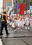 February  20th, 2016, Inazawa, Japan - Festival participants are making their way through the rain towards Konomiya Shrine on Saturday, February  20, 2016.<br /> The festival organised by Konomiya Shrine, takes place annually on the 13th of the lunar calendar. It is one of the oldest festivals in Japan. Since the old days, the participants are men only, mostly of the ages 24, 42 and 61, which are considered unlucky in Japan. By taking part in the festival they are hoping to avoid the bad luck throughout the coming year.