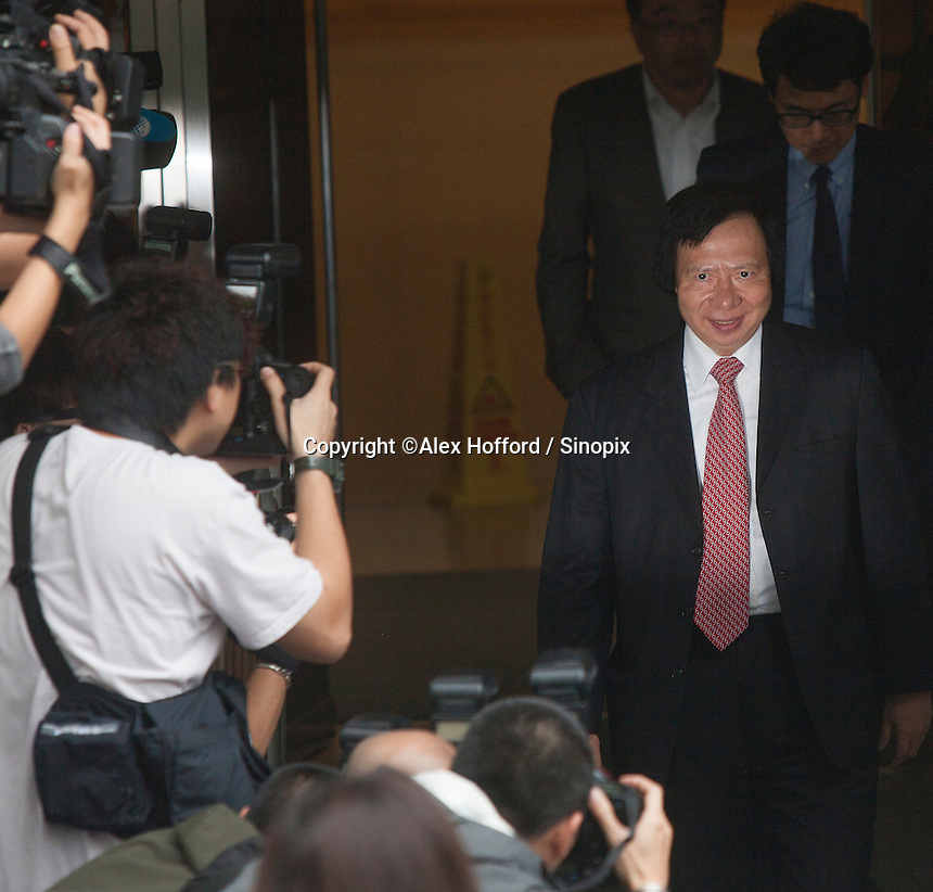 Billionaire property developer Thomas Kwok seen leaving the High Court of Hong Kong on day one of Hong Kong's most high profile corruption case in history, Hong Kong, China, 08 May 2014. The two property tycoon Kwok brothers Thomas and Raymond Kwok, as well as Rafael Hui who was once Hong Kong's second most senior official, are being charged with misconduct in public office relating to a high profile bribery scandal.