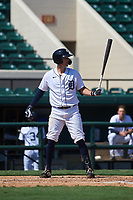 Detroit Tigers Ryan Kreidler (60) bats during a Florida Instructional League intrasquad game on October 17, 2020 at Joker Marchant Stadium in Lakeland, Florida.  (Mike Janes/Four Seam Images)