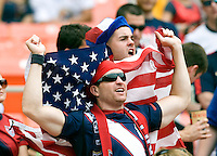 USA fans cheer before the game at RFK Stadium in Washington, DC.  The USMNT defeated Jamaica, 2-0.