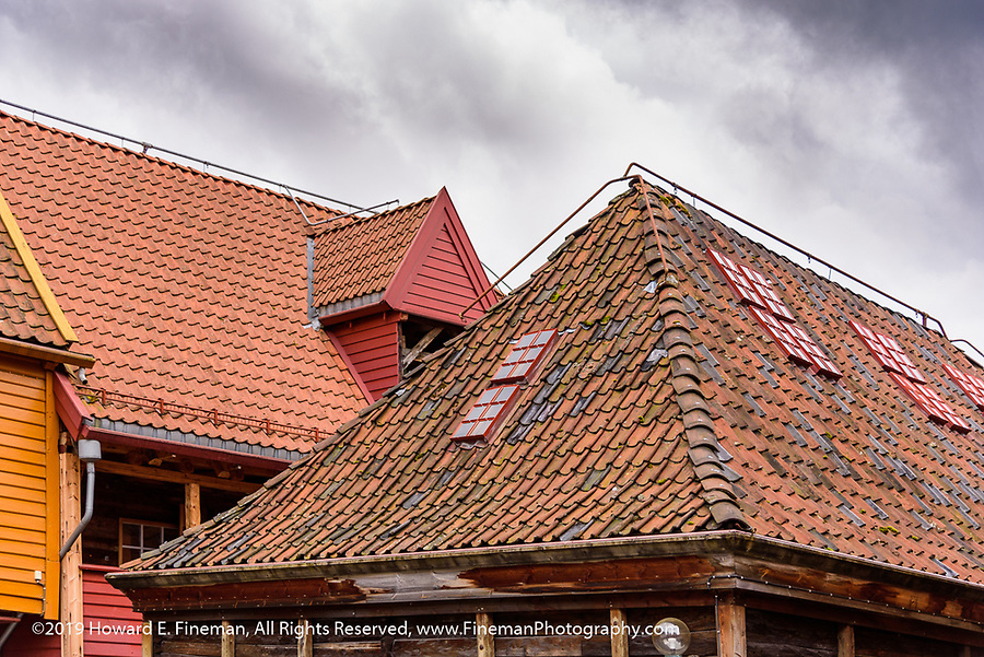 Typical roofs of Bryggen wharf houses