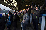 Greenock Morton 2 Stranraer 0, 21/02/2015. Cappielow Park, Greenock. Home supporters in the Shed react with delight as the their team's Declan McManus opens the scoring in the 44th minute as Greenock Morton take on Stranraer in a Scottish League One match at Cappielow Park, Greenock. The match was between the top two teams in Scotland's third tier, with Morton winning by two goals to nil. The attendance was 1,921, above average for Morton's games during the 2014-15 season so far. Photo by Colin McPherson.