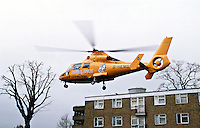 The HEMS helicopter taking off from an inner city park after the doctors and paramedics dealt with an accident..The Helicopter Emergency Medical Service is an air ambulance service that serves London and carries a doctor, a paramedic and two pilots, and is based at The Royal London Hospital...© SHOUT. THIS PICTURE MUST ONLY BE USED TO ILLUSTRATE THE EMERGENCY SERVICES IN A POSITIVE MANNER. CONTACT JOHN CALLAN. Exact date unknown.john@shoutpictures.com.www.shoutpictures.com.