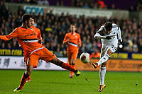 Thursday 28 November  2013  Pictured:Alejandro Pozuelo makes a shot  at goal in the first half <br /> Re:UEFA Europa League, Swansea City FC vs Valencia CF  at the Liberty Staduim Swansea