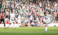 Neil Taylor of Swansea City has a shot during the Barclays Premier League match between AFC Bournemouth and Swansea City played at The Vitality Stadium, Bournemouth on March 11th 2016