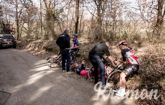 crash victims Tomasz Marczyński (POL/Lotto Soudal), Lawson Craddock (USA/EF Education - Nippo) & Alex Howes (USA/EF Education - Nippo) by the roadside<br /> <br /> 15th Strade Bianche 2021<br /> ME (1.UWT)<br /> 1 day race from Siena to Siena (ITA/184km)<br /> <br /> ©kramon