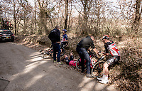 crash victims Tomasz Marczyński (POL/Lotto Soudal), Lawson Craddock (USA/EF Education - Nippo) & Alex Howes (USA/EF Education - Nippo) by the roadside<br /> <br /> 15th Strade Bianche 2021<br /> ME (1.UWT)<br /> 1 day race from Siena to Siena (ITA/184km)<br /> <br /> ©kramon