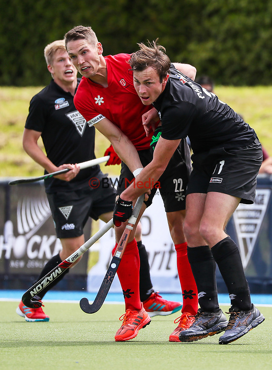 Hayden Phillips collides with John Smyth. International Hockey, Blacksticks men v Canada. Lloyd Elsmore Park, Auckland, New Zealand. Sunday 21 October 2018. Photo: Simon Watts/Hockey NZ