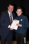 St Johnstone FC Academy Awards Night...06.04.15  Perth Concert Hall<br /> Tommy Wright presents a certificate to Morgan Miller<br /> Picture by Graeme Hart.<br /> Copyright Perthshire Picture Agency<br /> Tel: 01738 623350  Mobile: 07990 594431