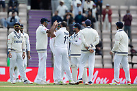Ravichandran Ashwin, India congratulates Mohammad Shami, India on the wicket of Colin de Granhomme, New Zealand during India vs New Zealand, ICC World Test Championship Final Cricket at The Hampshire Bowl on 22nd June 2021