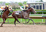 DONE TALKING and jockey Sheldon Russell winning the GIII TVG Illinois Derby at Hawthorne Race Course in Cicero/Stickney, IL.