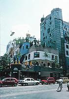 "Friedensreich Hundertwasser: Hundertwasser House 1983-85. Designed and supervised by the ""fantastic Realist"" Fritz Stowasser. Third district, Lowengasse/Regelgasse."