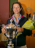 August 24, 2014, Netherlands, Amstelveen, De Kegel, National Veterans Championships, Prizegiving, Final 45 years+: winner Mariëlle Spekreijse (NED) <br /> Photo: Tennisimages/Henk Koster