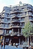 """Casa Milà, popularly known as La Pedrera or """"The stone quarry"""", has an unconventional rough-hewn appearance. It is a modernist building in Barcelona, Catalonia, Spain and was the last private residence designed by architect Antoni Gaudí, built between 1906 and 1912."""