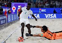 28th August 2021; Luzhniki Stadium, Moscow, Russia: FIFA World Cup Beach Football tournament; Semi final match Japan versus Senegal:  Japan's Yusuke Kawai competes with Ninou Diatta of Senegal, during the match between Japan and Senegal